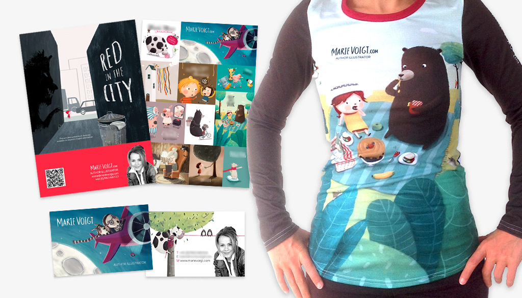 Some of the promo material I took to Bologna Children's Book Fair - printed top, A4 flyers and business cards