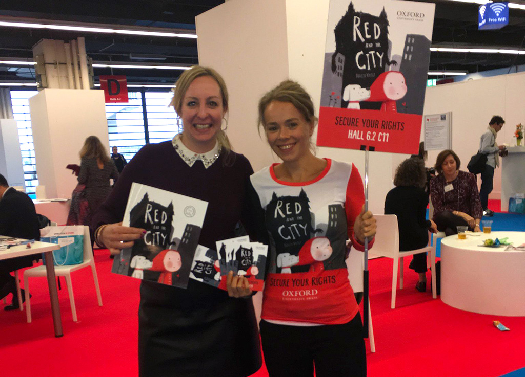 My agent Stephanie Thwaites and I celebrating at Frankfurt Book Fair 2017 where I was helping promote my book Red and the City to foreign publishers